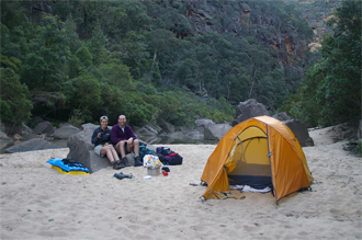 Camping on the banks of the Colo River.